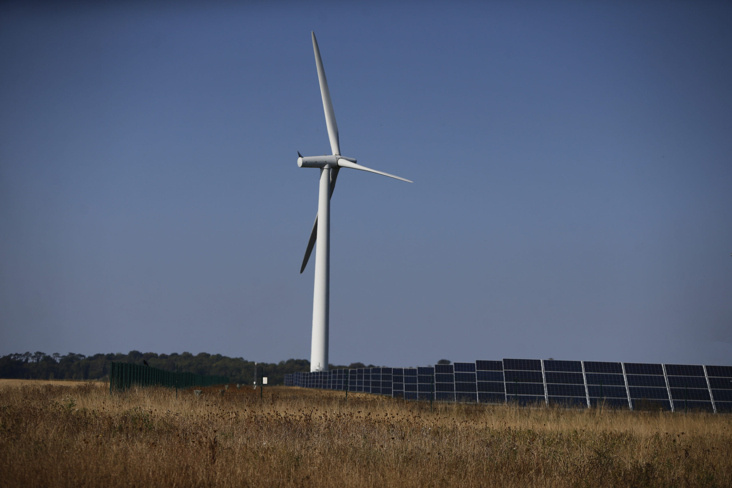 a windfarm and solar panels